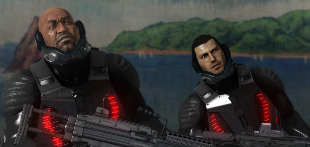Binary Domain's Marshall and Bo pictured above single-handedly justifying the entire genre of slash-fic