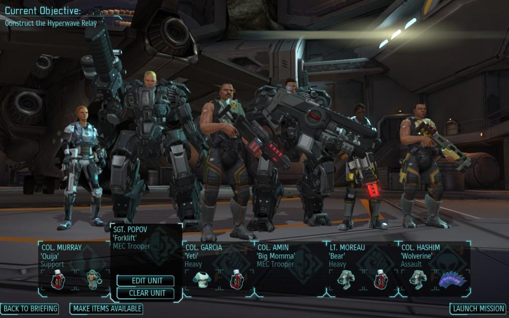 XCOM squad set up