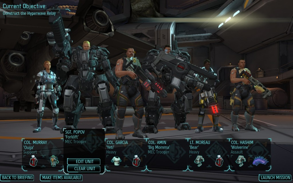 XCOM squad set up