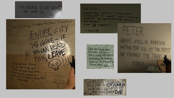 Fig. 2. Notes to Loved Ones on Safe Room Walls (Valve Corporation)