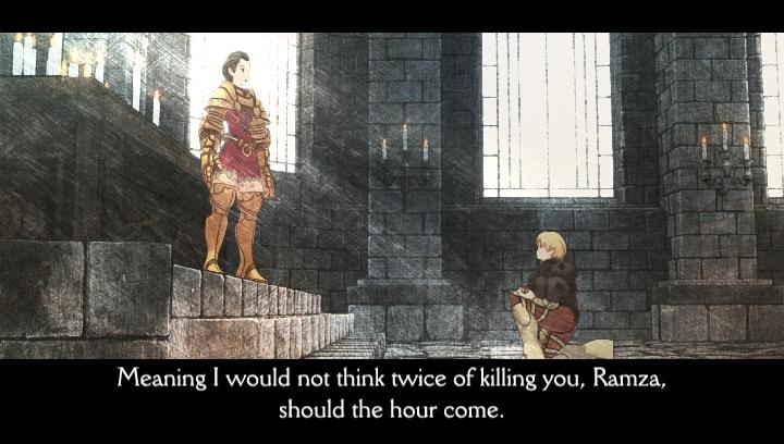 Final Fantasy Tactics Ramza bows to Delita