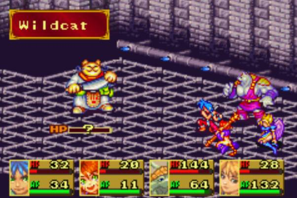 Breath of Fire II battle vs cat