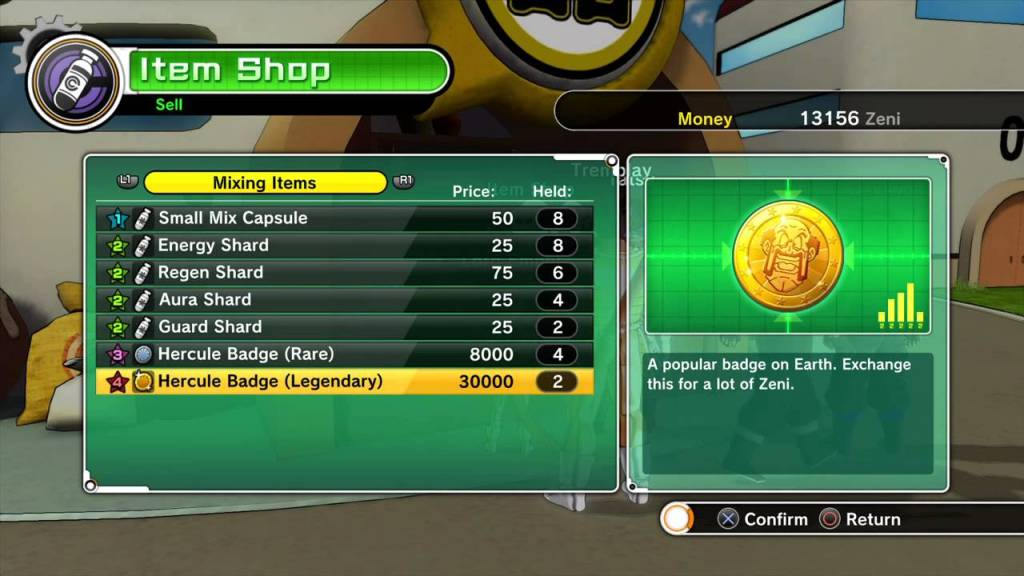 Dragonball Xenoverse item shop